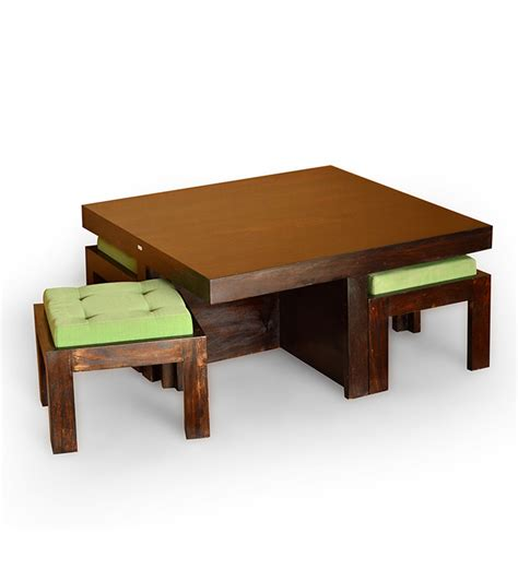 coffee table with stools underneath india basil trendy coffee table with 4 stools 12999 from pepperfry
