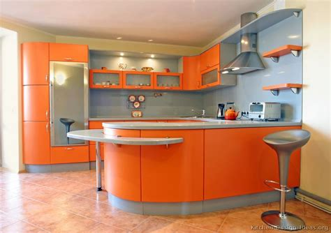 Contemporary Orange Kitchen Cabinets Designs  Easy Home