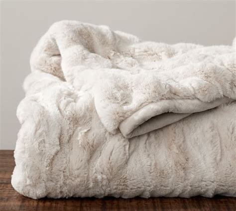 pottery barn fur blanket ruched faux fur throw ivory pottery barn