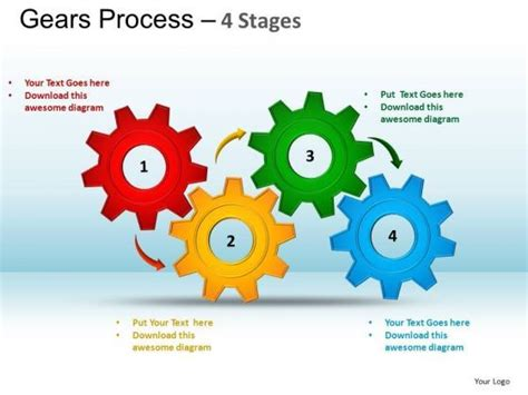 powerpoint layouts marketing gears process  template