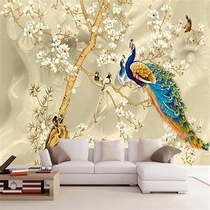 Mural Peacock Painting Living Walls Stereo Flowers