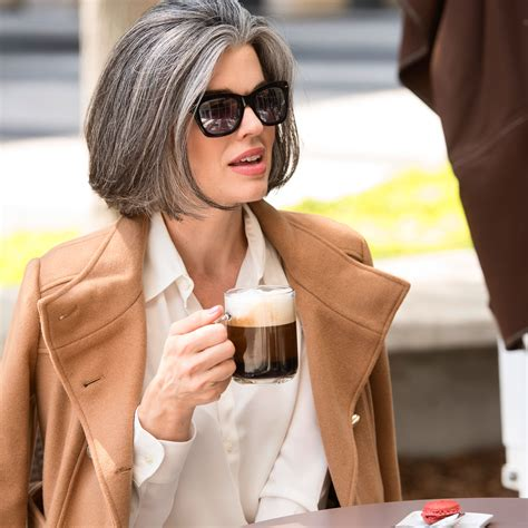 Brew a cup of espresso and let it cool. Salt and pepper gray hair. Grey hair. Silver hair. White ...