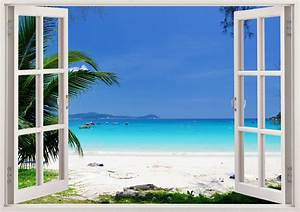 beautiful beach wall art 3d window beach wall decal with With beautiful beach decals for walls
