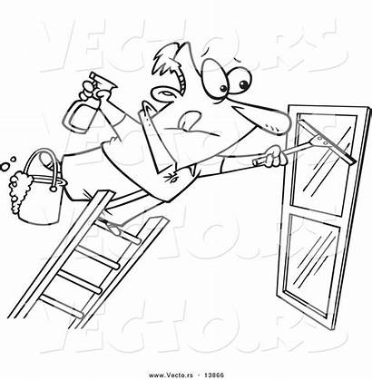 Window Cartoon Ladder Coloring Outline Cleaner Far