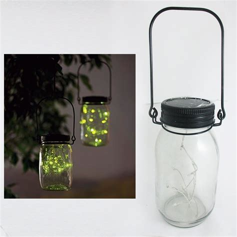 jar solar lid light up string hanging lantern 9 led