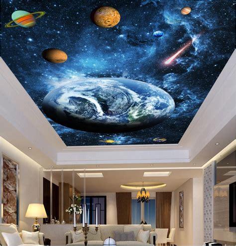 ceiling murals wall paper sky blue dream planet decor