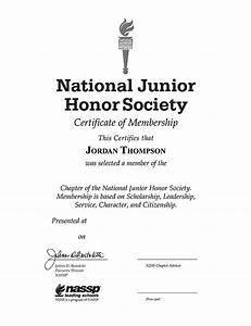 national junior honor society gold embossed certificate With national honor society certificate template