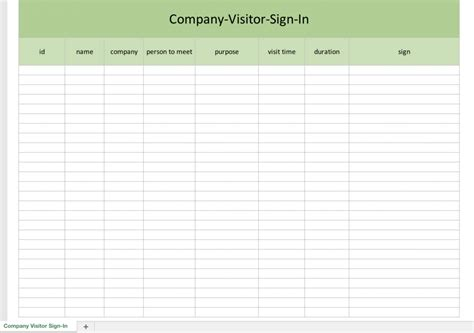 Company Sign Template by Company Visitor Sign In List Excel Templates For Every