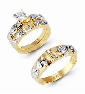 K yellow white gold leaves round cz wedding ring set trio for Wedding ring sets white gold