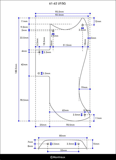 Thunderbird Pickguard Template by Sg Measurements Everythingsg