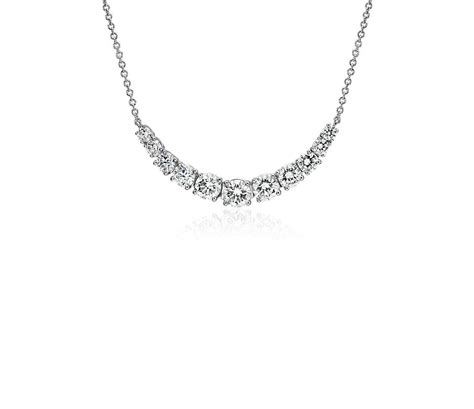Diamond Graduated Curve Necklace In 14k White Gold (098. Fire Pendant. Ankle Bangle. Blue Stone Rings. Clock Chains. Floral Engagement Rings. Wedding Ring Set Platinum. Rose Gold Band. Crown Setting Engagement Rings
