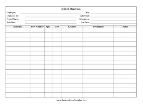 bill  materials template