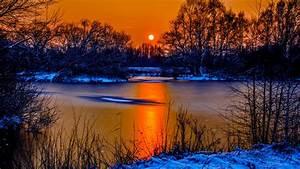 Sunset, In, Winter, Snow, River, Coast, Two, Sun, Orange, Sky