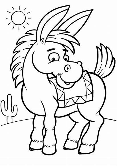 Coloring Pages Printable Sheets Animal Donkey