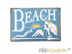 Plaque De Metal : plaque m tal d co vintage beach 20x30cm d co accessoires plaques metal f enomenn ~ Teatrodelosmanantiales.com Idées de Décoration