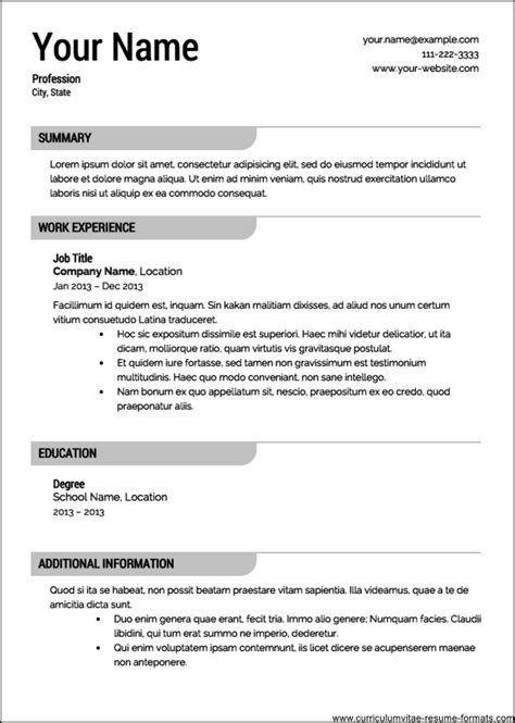 professional resume template   samples