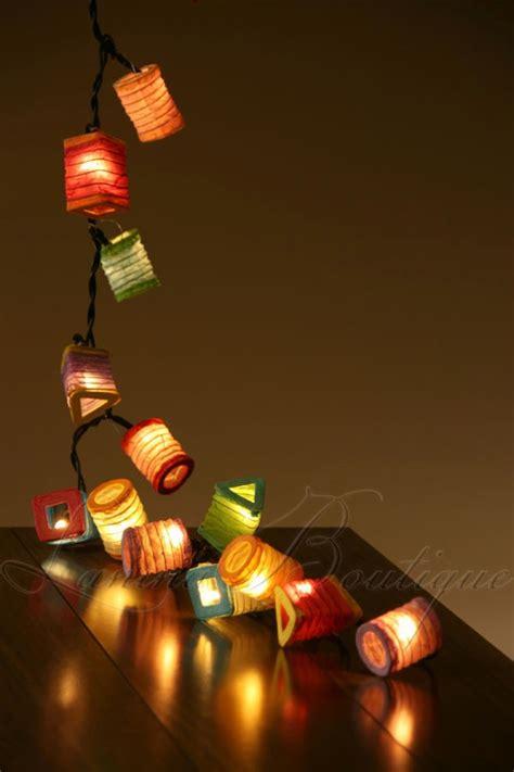 35x multi colour mini paper lanterns 5m led string