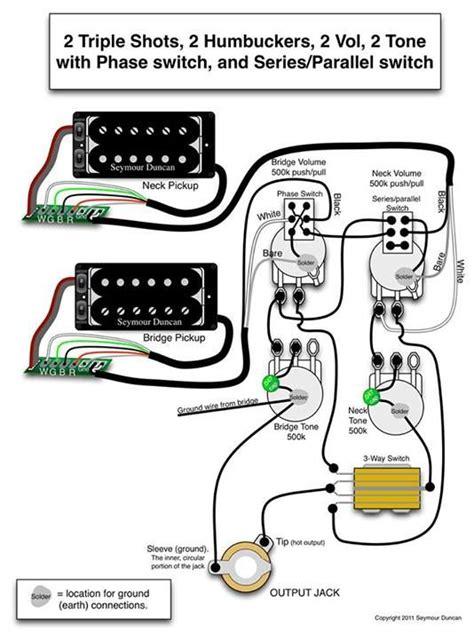 seymour duncan wiring diagram  triple shots  humbuckers  volume  tone  phase switch
