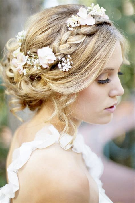 braided crown hairstyle  wedding day  flowers