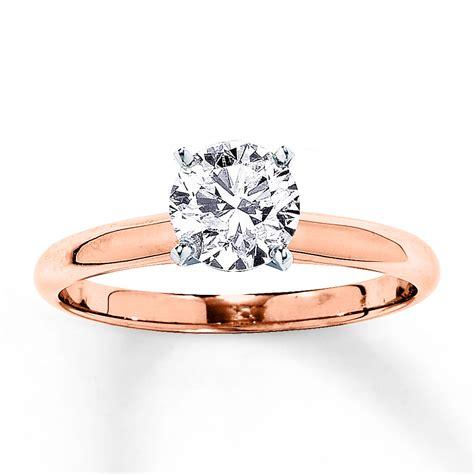 Solitaire Engagement Ring 1 Carat Diamond 14k Rose Gold
