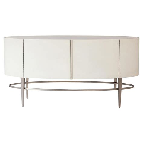 Oval Sideboard by Dayyaan Modern Ivory Leather Wrapped Grey Oval Wood Sideboard