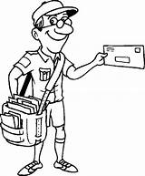 Postman Clipart Coloring Postal Worker Clip Jolly Pages Library Colouring Collection sketch template