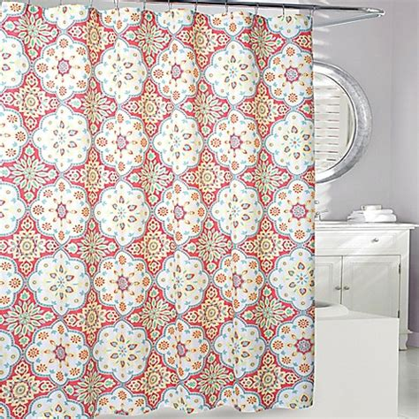 coral shower curtain shower curtain in coral yellow bed bath beyond