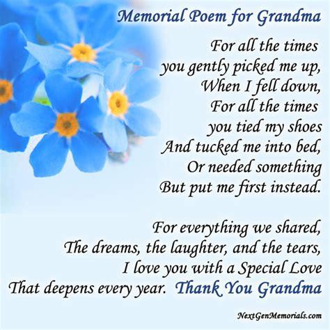 memorial poems  grandma poems  read  grandmas