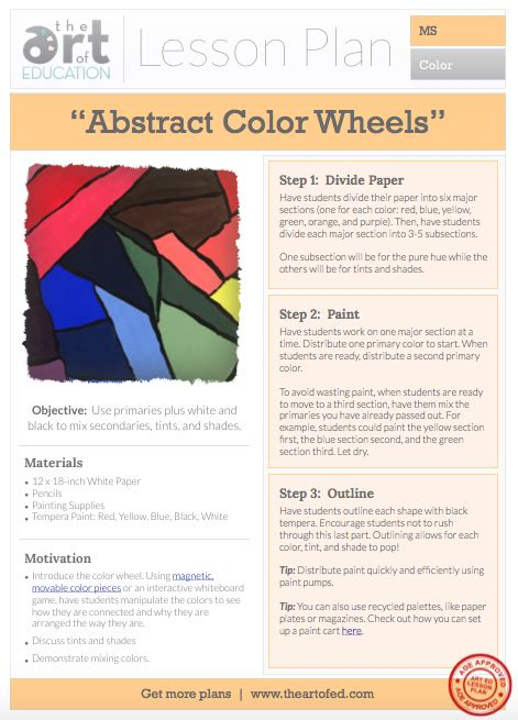 Abstract Color Wheels Free Lesson Plan Download  The Art