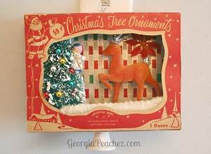 Vintage Shiny Brite ornament boxes Christmas shadow boxes