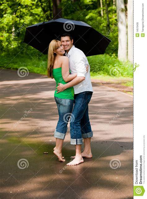 park walk couple umbrella stock image image