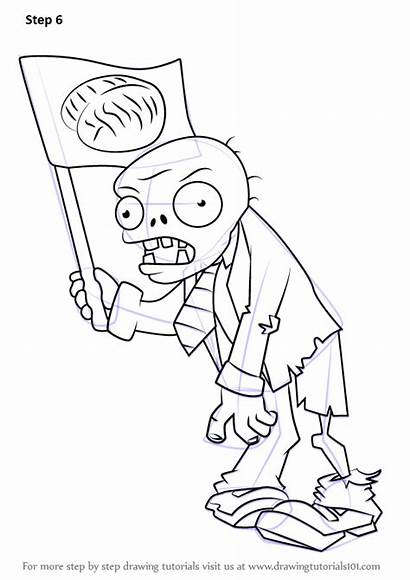 Zombie Zombies Plants Flag Drawing Draw Step