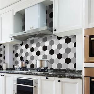 pgts019 blanc noir gris hexagone etanche amovible cuisine With carrelage adhesif salle de bain avec tube led pour cuisine