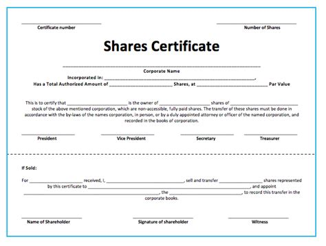 stock shares certificate template microsoft word templates
