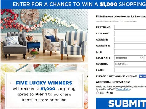 country living sweeps pier 1 imports country living sweepstakes