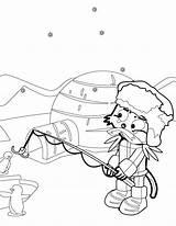 Inuit Cartoon Fishing Coloring Penguin sketch template