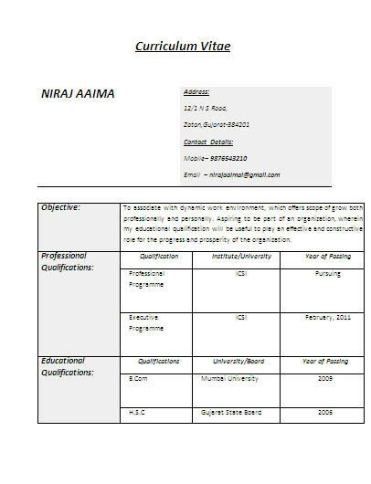 Bca Resume Format For Experienced by Sle Resume For Bca Freshers Pdf Narag
