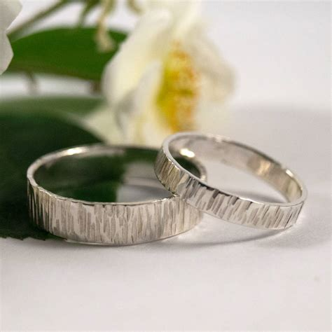 bark effect wedding bands in sterling silver by fragment designs notonthehighstreet com