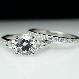 beautiful 3 stone solitaire diamond engagement ring With 3 band diamond wedding rings