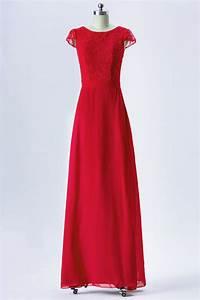 Haut Habillé Pour Soirée : robe rouge longue pour soir e mariage haut couvert de dentelle avec mancherons ~ Melissatoandfro.com Idées de Décoration