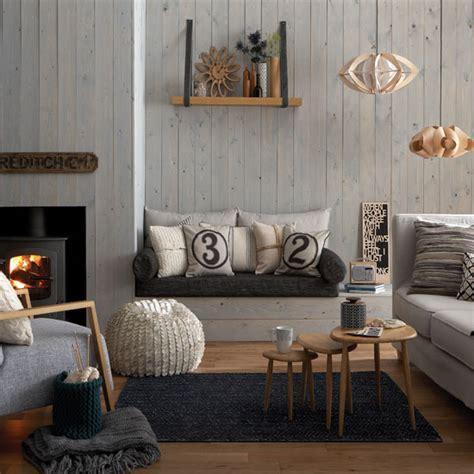 Cosy grey and warm oak living room   Living room