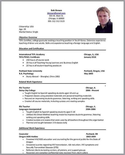 Format Of A Resume For A by Resume For Usa