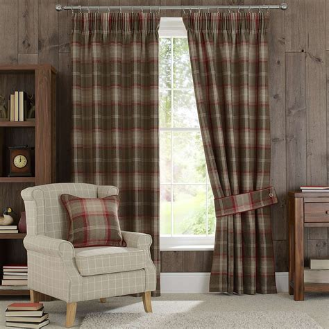Living Room Curtains Pencil Pleat by Highland Check Pencil Pleat Lined Curtains Dunelm