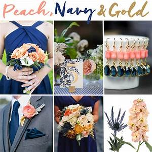 Navy Blue, Peach, and Gold Wedding Inspiration