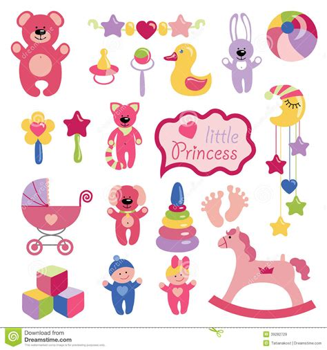 Baby Toys Set Collection For Little Girl Stock Vector ...