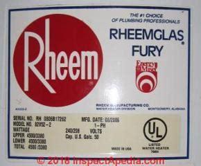 Rheem Water Heater Age Serial Number Decoder