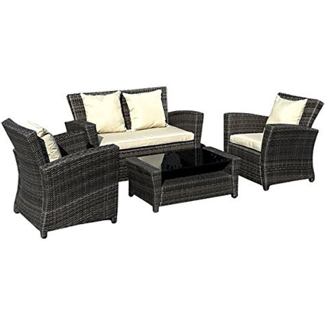 goplus 174 4 pcs brown wicker cushioned rattan patio set