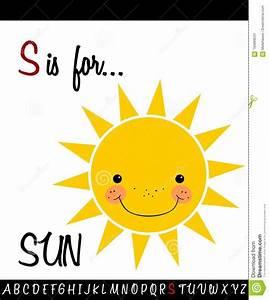 Cartoon Illustration Of Capital Letter S With Sun Stock Vector