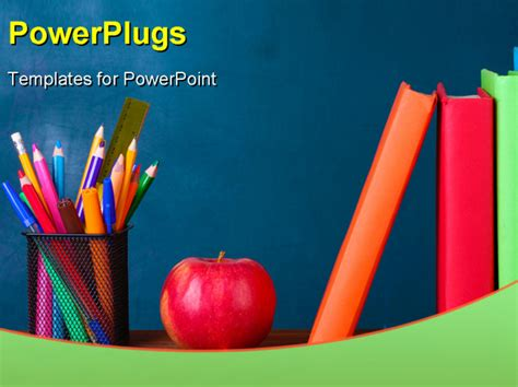 slides templates for teachers powerpoint template a number of books colors and an apple 3913