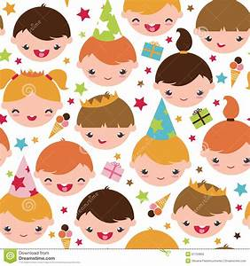 Kids At A Birthday Party Seamless Pattern Stock Photos ...